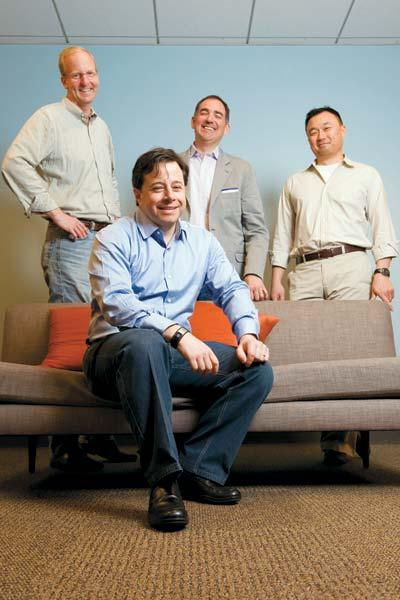 """We saw an unsolved problem,"" says CEO Christopher Lien (front). Left to right are  Marin Software execs Wister Walcott, Peter Wooster and Joseph Chang."