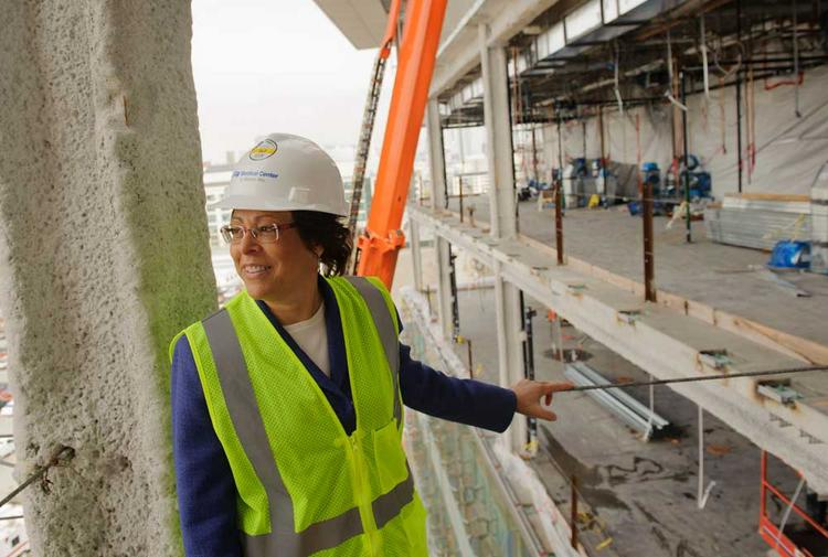 """It's like watching a time-lapse video in real life,"" says UCSF hospital construction chief Cindy Lima of the Mission Bay children's, women's and cancer hospital."