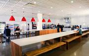 Studio A+O designed AOL's office in Palo Alto, including its cafeteria and dining area.