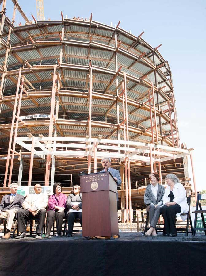 """Mayor Ed Lee attended the """"topping out"""" ceremony for the $887 million S.F. General."""