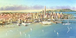 An artist's rendering of the proposed Warriors arena in San Francisco.