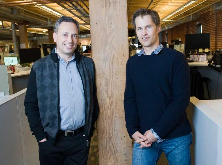 Yammer's David Sacks (left), Kevin Hartz of Eventbrite: PayPal veterans shared a small space on Townsend Street in San Francisco for their new ventures - until 
