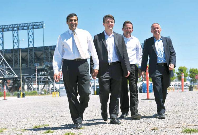 Four score: Strada principals Rajiv Parikh, Scott Stafford, Jesse Blout and Michael Cohen move on Mission Bay.