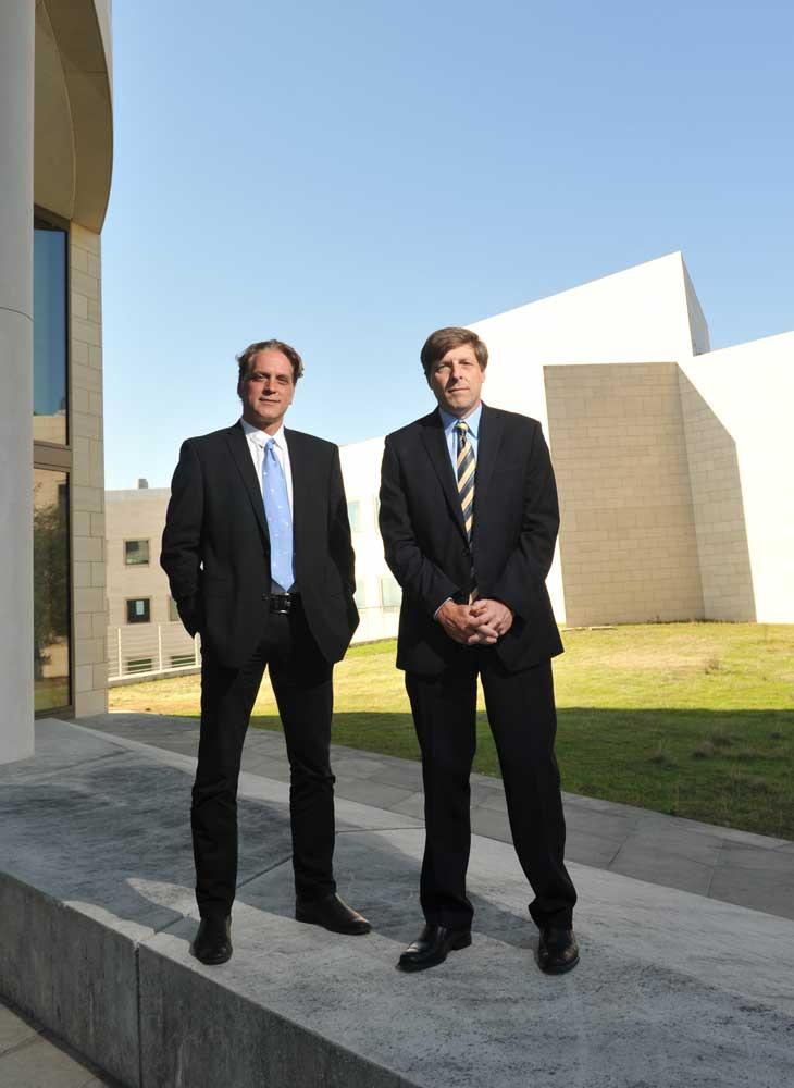 Stelios Tzannis (left) and Brian Kennedy collaborate on a for-profit venture to target age-related diseases.
