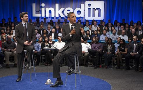 President Barack Obama won Tuesday's election. Here he speaks with LinkedIn CEO Jeff Weiner during a trip to Silicon Valley.