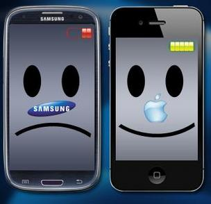 Unhappy Samsung Galaxy, happy Apple iPhone illustration