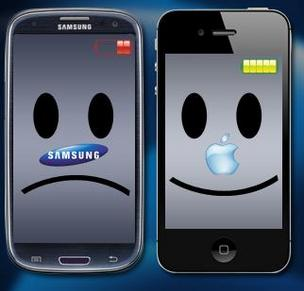 Apple-Samsung smartphone graphic