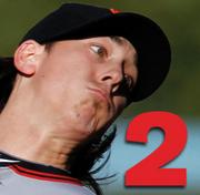 No. 2: Tim Lincecum.  2010 Salary: $14 million.  Team: San Francisco Giants.  Position: Pitcher.  Years with team: 2.  Contract expires: 2011.  Career highlights: 2x Cy Young Winner 4x All-Star selection Giants record holder for strikeouts.