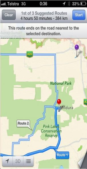 Apple Maps directions to Mildura