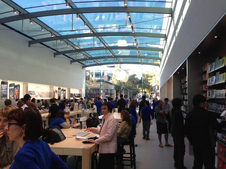 Apple Stores such as this new one in Palo Alto are rated as the most productive per square foot, bringing in double that of No. 2 Tiffany & Co. Click through to see the rankings from RetailSails.