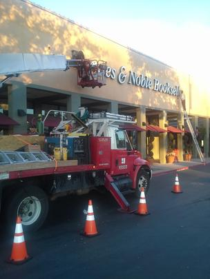 Workers were removing the sign at the Barnes & Noble in Campbell on Jan. 3.