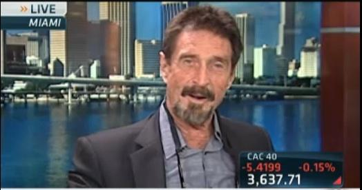 John McAfee talked about guns, drugs and money in an interview with CNBC on Friday.
