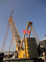 One of four specialized giant cranes on site at the new stadium. Each one can reach 338 feet high, and there are only about 30 of them in the entire U.S.