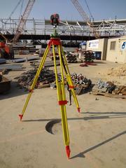 """A tripod helps mark the center of the stadium, where the 49ers logo will eventually mark the 50 yard line of the field. Hill calls it """"the center of the universe"""" for crews working on the new stadium."""