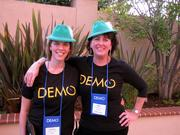 Green Alpine caps were everywhere at Monday night's opening reception of the Demo startup expo's fall show in Santa Clara, which was done up in an Oktoberfest theme.