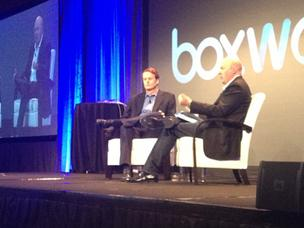 EBay CEO John Donahoe, left, and venture capitalist Marc Andreessen spoke at Boxworks on emerging trends in e-commerce and retail.