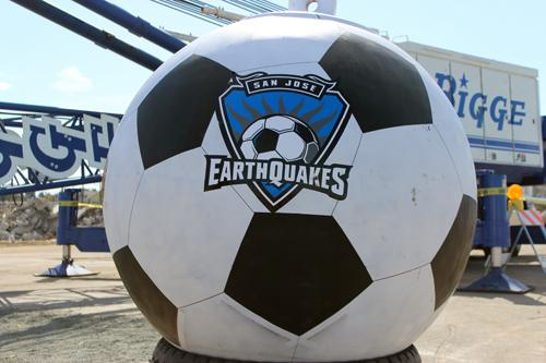 A custom Earthquakes wrecking ball dropped from a nearby crane to kick off the record-breaking stadium groundbreaking.