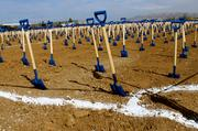 A field full of shovels welcomed the more than 6,250 participants in the groundbreaking ceremony for the San Jose Earthquakes.
