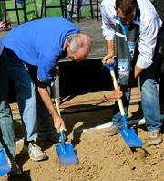 Participants in the groundbreaking - including San Jose Mayor Chuck Reed and Councilman Sam Liccardo - had to dig for two minutes for the event to count for the Guinness World Record.