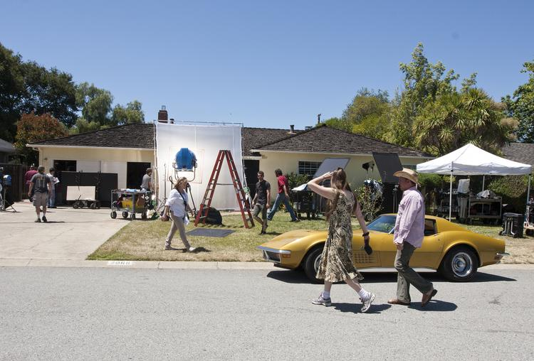 "Ashton Kutcher and the crew of the film ""jOBS"" have been on location in the Los Altos neighborhood where Steve Jobs and Steve Wozniak started what later became Apple."