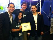 MyFit was one of three startups that took top honors at Plug and Play's Fall Expo on Thursday. Shown are, from left, John Rocha, Aastha Jain, Chris Mathew and RickTililie.
