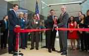 San Jose Mayor Chuck Reed and Robert Teed, vice president of Polycom, officially open the new Polycom headquarters in San Jose.