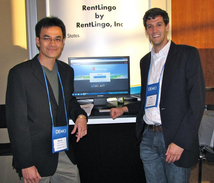 Byron Singh, left, and Dan Laufer are two Stanford students whose startup, RentLingo, was named a winner at the fall Demo show in Santa Clara.