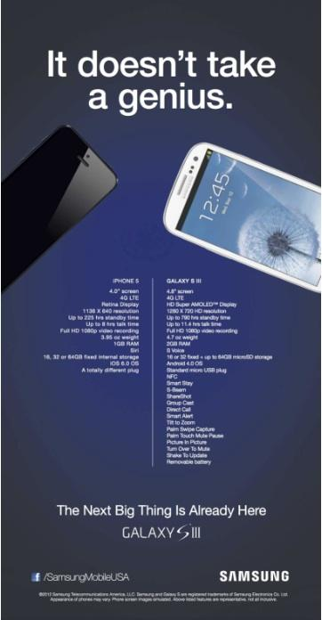 """Samsung launched an ad campaign over the weekend that knocks the new iPhone 5, declaring """"it doesn't take a genius"""" to see that its Galaxy S3 is a better device. But Apple fans quickly launched parodies of the ad, saying it left off many of the new iPhone's features in a slanted tally by the Korean electronics giant."""