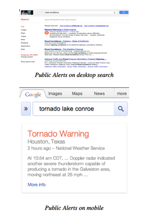 "An image of one of Google's new ""public alerts"" announced last night to help provide information to users about emergencies like Hurricane Sandy."