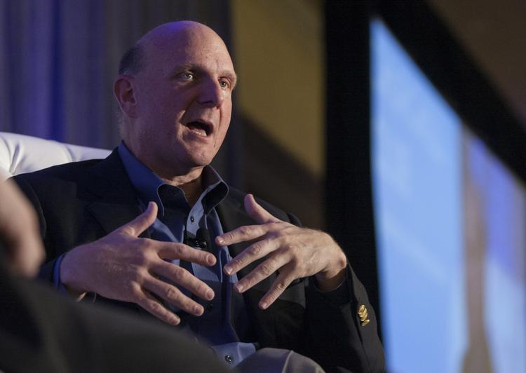 Microsoft CEO Steve Ballmer told a crowd in Silicon Valley Wednesday night that Windows chief Steve Sinofsky left the company of his own choice, praising both him and the team that is taking over on the important product line.