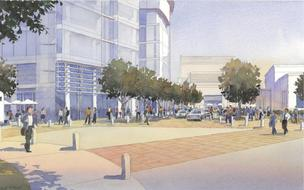A proposed development at the entrance to downtown Palo Alto would result in four new office buildings, a new theater, and improvements to public infrastructure.
