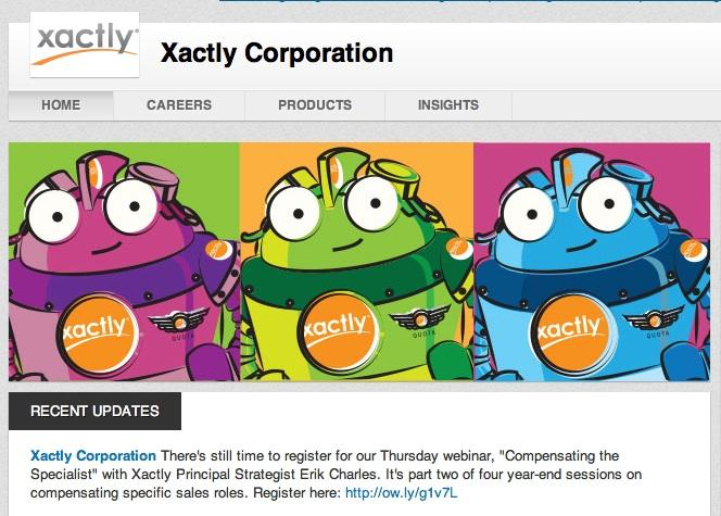 San Jose incentive management company Xactly is one of 12 companies picked as having the best company pages on LinkedIn.