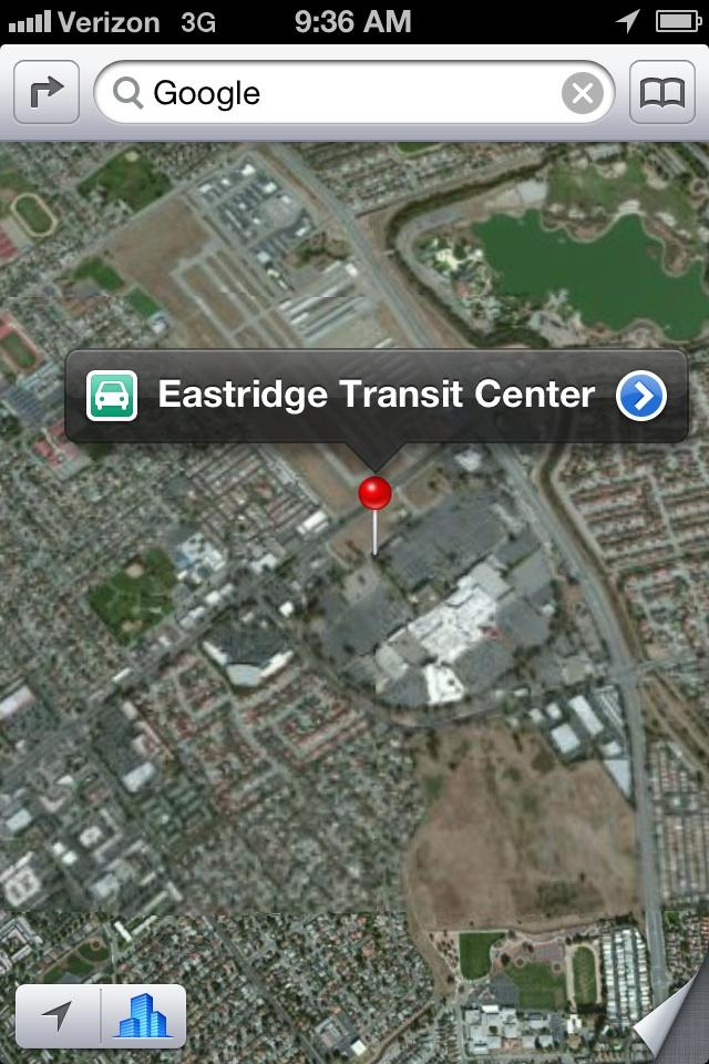A search for Google on Apple's new mapping software comes up with the Eastridge Transit Center in San Jose.