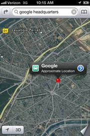When my map was already looking at Paris, a search for Google headquarters found a location in France, though my GPS was still locating me here in San Jose.