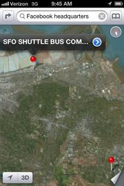 A search for Facebook's headquarters will lead you to either a shuttle bus company or Facebook's old headquarters in Palo Alto.