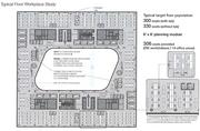 A sample floor plan shows 300+ work stations and a view to the courtyard.