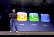 2007 – Jobs introduces the iPhone  In 2007, Jobs changed the definition of what a smartphone would be by introducing the iPhone. He did it with characteristic humor, mentioning he was introducing a device that combined the web, an ipod, and a phone, and then showing off something that looked like a first generation ipod with a rotary dial.