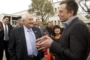 Fremont Mayor Bob Wasserman beams as Tesla CEO Elon Musk talks about plans for the former NUMMI plant.