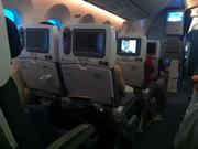 Inside shot of the coach section on ANA's Dreamliner.