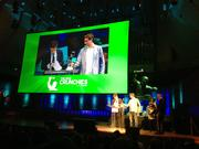 Box co-founders Aaron Levie, left, and Dylan Smith accepted a Crunchies award for sexiest enterprise startup.