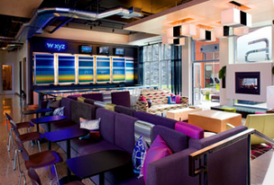 A shot of the bar and lounge at the new Aloft Cupertino hotel.