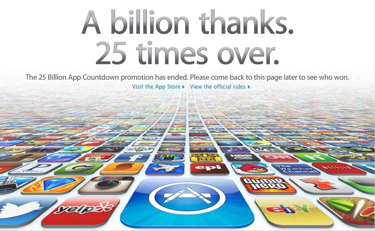 Apple said over the weekend that more than 25 billion apps have been downloaded through its iTunes App Store.