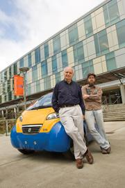 The Center for Sustainable Energy and Power Systems at the University of California, Santa Cruz, was a finalist for the Conservation Leader - Public Sector at the 2011 Energy Awards. Shown are Michael Isaacson, co-founder of the center  (left), and graduate student Zachary Graham.
