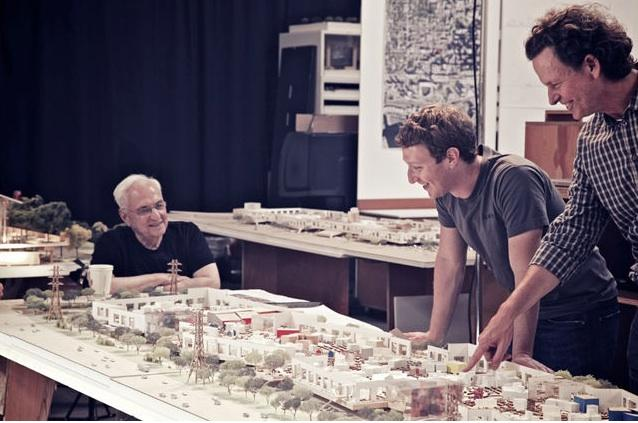World-class architect Frank Gehry, left, has designed Facebook's expansion campus in Menlo Park. Here he is shown with Facebook CEO Mark Zuckerberg, center, and Gehry's partner Craig Webb.