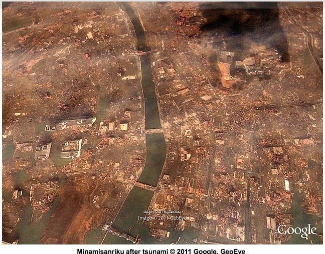 Google published this satellite image of damage to the city of Minamisanriku in the wake of Friday's earthquake and tsunami.