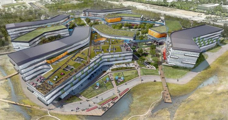 A rendering of Google's new Bay View campus.