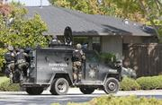 Sunnyvale police search local neighborhoods for the shooter. He is believed to be armed.