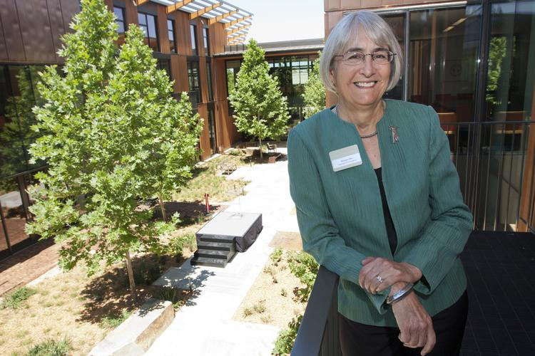 Susan Packard Orr, daughter of David and Lucile Packard and chairman of the foundation that bears their name, showed off its new green headquarters in Los Altos on Friday.