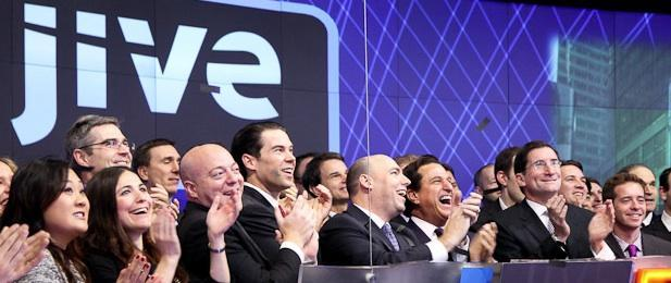 Jive Software shares surged more than 25 percent on Tuesday after it sold more shares in its initial public offering and at a higher price than it projected.