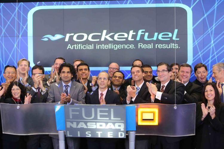 Rocket Fuel executives rang the opening bell on the Nasdaq stock exchange on Tuesday, three days after their stock nearly doubled on its IPO debut. The company went public at $29 a share and was trading as high as $64.23, a new high, on Tuesday.